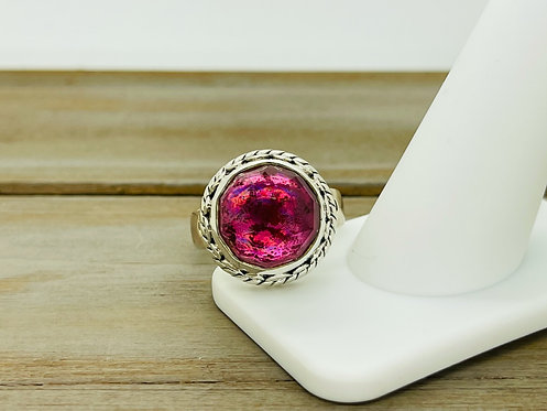 IN Sajen 925 Pink Rainbow Stone Ring
