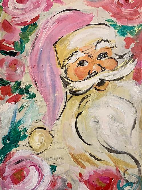 Vintage Santa with Hat (Print)