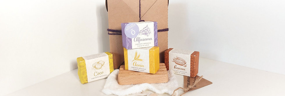 Kit Bem-Estar Tradicional Madeira 4 sabonetes (3 em 1)