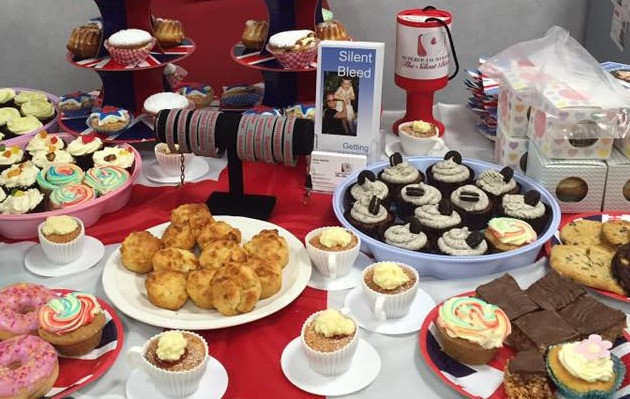 Cake sale for The Silent Bleed at Santander bank