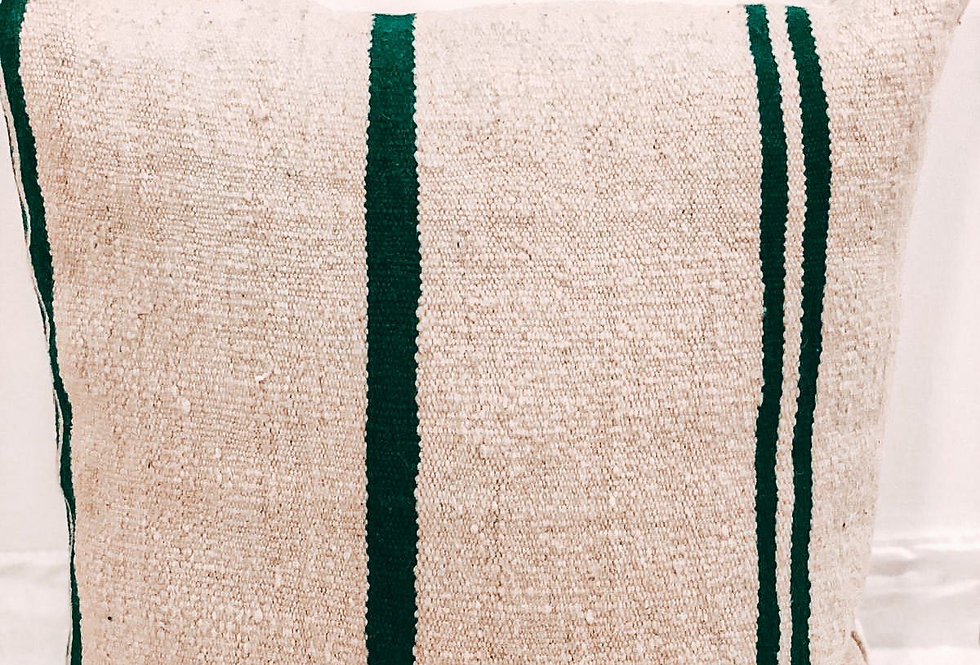 Handmade Green Striped Pillow