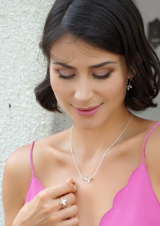 Lilac earring, pendant, ring
