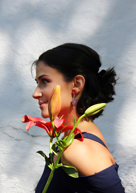 Cherry asymetric earrings