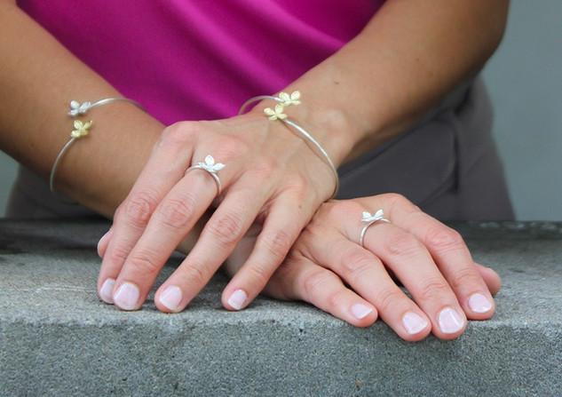 Lilac bangle and rings