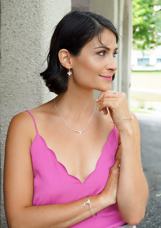 Lilac earrings and pendant