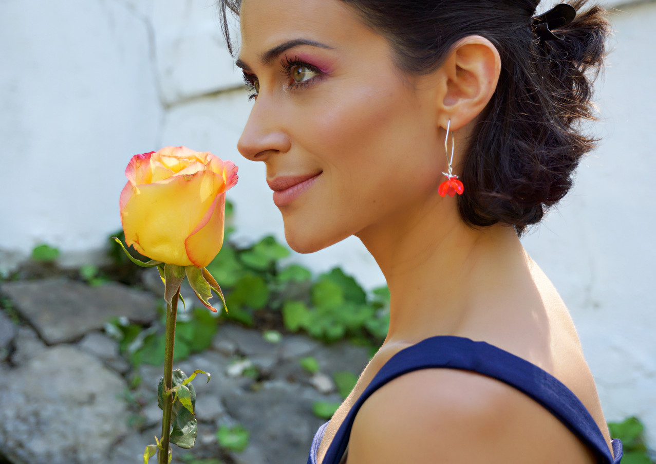 Orange tulip earrings