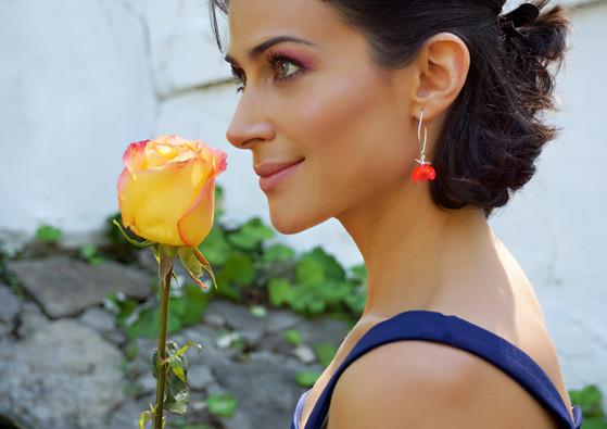 Orange tulip earrings