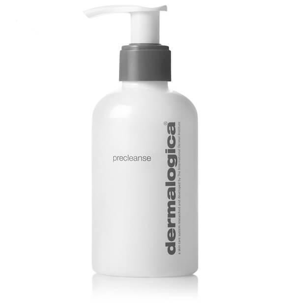 white and grey bottle of dermilogica Precleanse skincare against white background