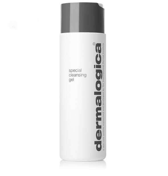 white and grey bottle of Dermilogica Special Cleansing Gel skincare against white background