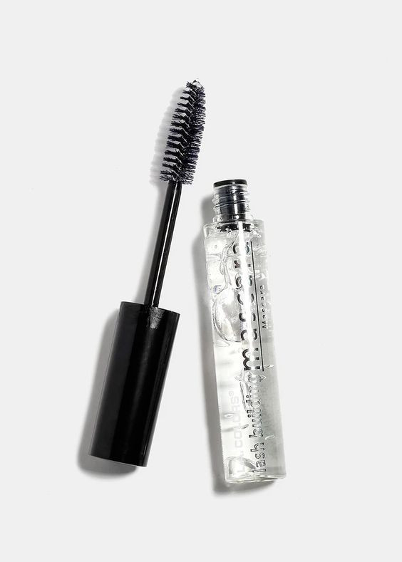 bottle of clear mascara with black mascara wand against white background
