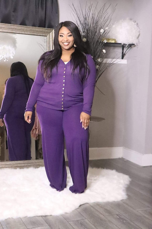 Purple Palazzo Set 1X-3X