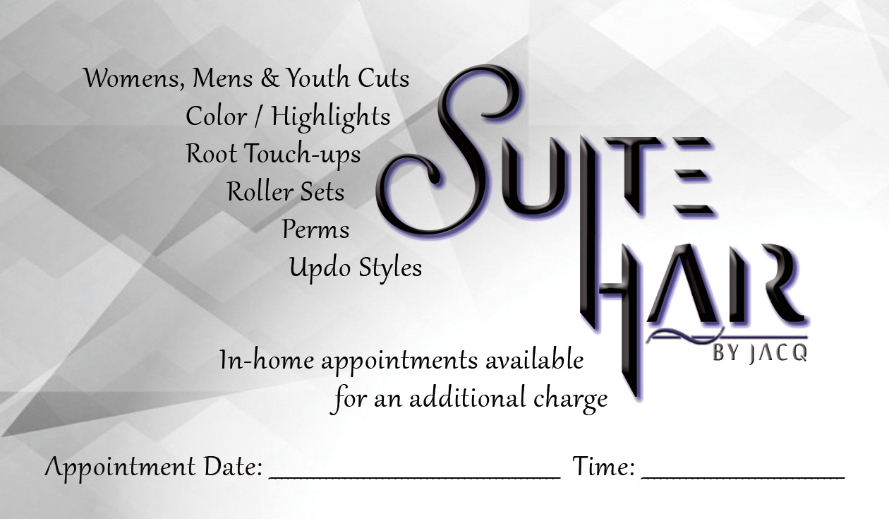 Suite Hair Card Back