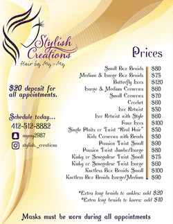 Stylish Creations price list