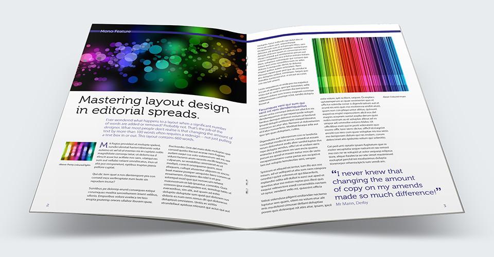 Editorial spreads, design, tips