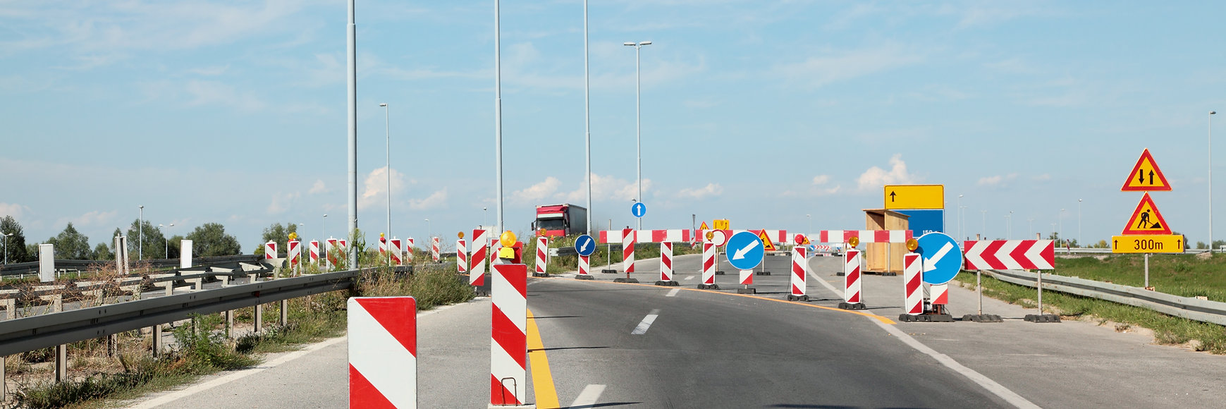 Road signs in a highway on reconstructio