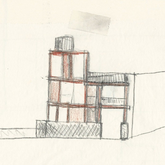 Ein turmartiges Gebilde im Dreh- und Angelpunkt des Neubaus fungiert als verbindendes Element zwischen Schul- und Gartenebene und bildet gleichzeitig den Hauptaufgang zum Kindergarten.