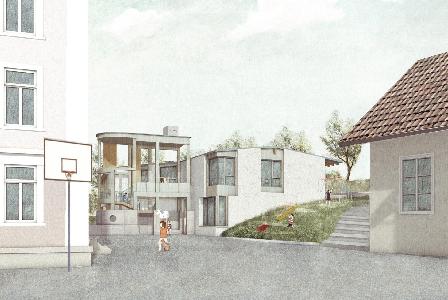 Die räumliche Erweiterung des bestehenden Platzes generiert einen eigenen Ankunftsort für die Kindergartenkinder.