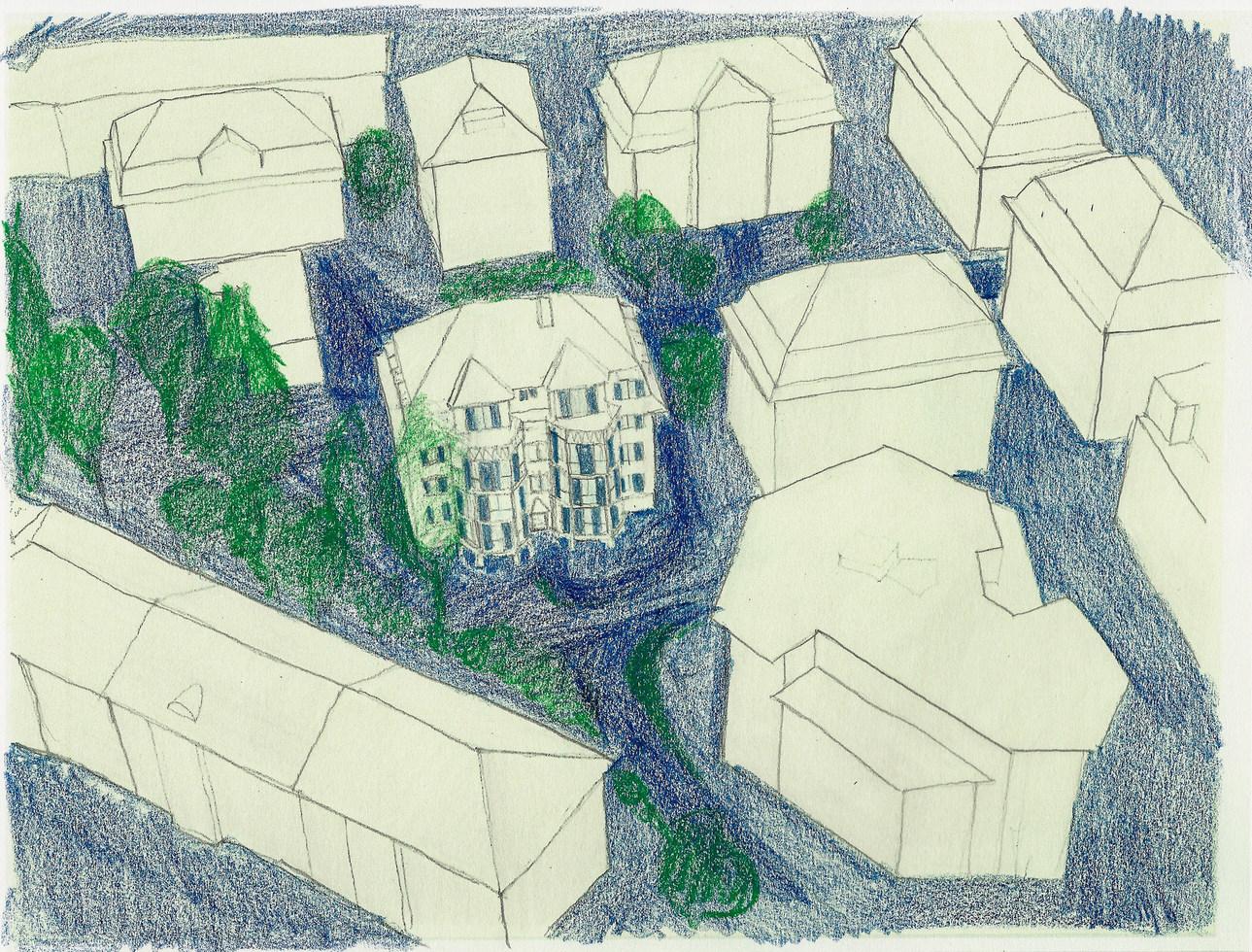 Das bestehende Haus bildet mit seinen Nachbarn eine Gruppe von Zeitgenossen. Gegen Norden wird die Bebauungsstruktur grossmassstäblicher und freier.