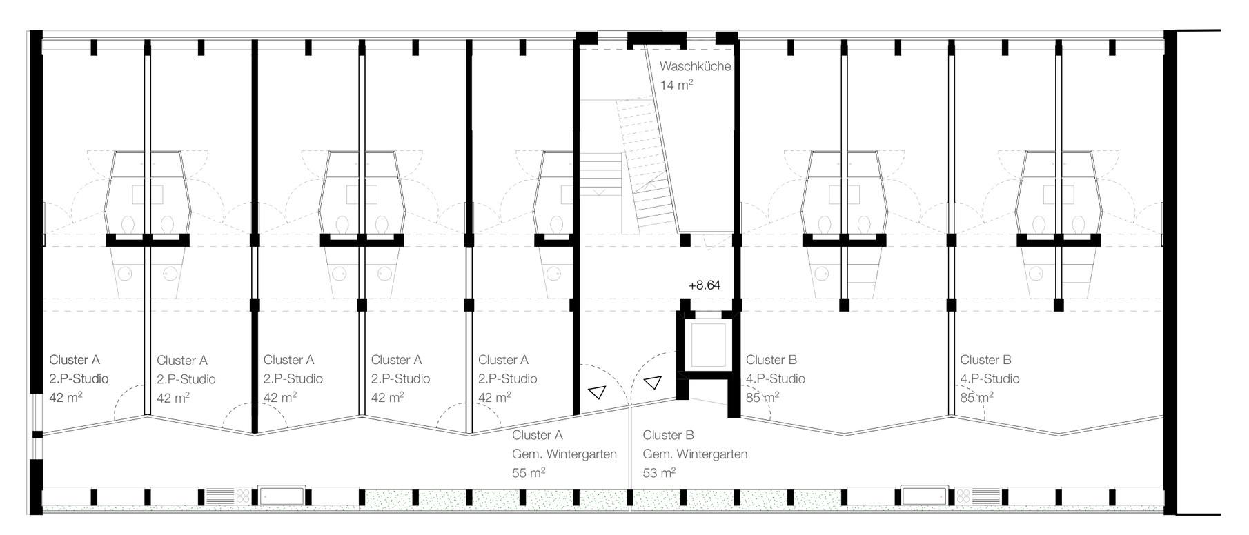 Im letzten Vollgeschoss werden die Kleinwohnungen zu zwei Clustern zusammengefasst. Die Laube wird zum temperierten Wohn- und Gartenzimmer mit Gemeinschaftsküche.