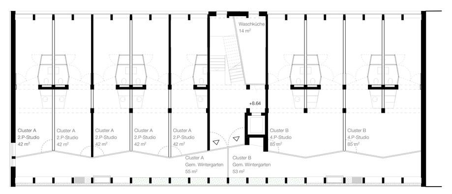 Im 3. Obergeschoss werden die Kleinwohnungen zu zwei Clustern gebündelt. Die Laube wird zum temperierten Wohn- und Gartenzimmer mit Gemeinschaftsküche.