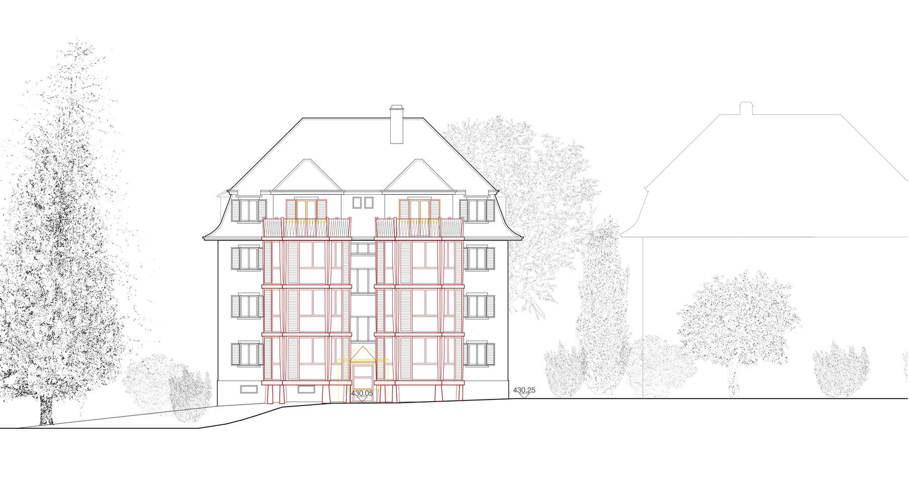 Die neue Holzbaukonstruktion mit grosszügiger Verglasung übernimmt die Fassadengliederung des Bestandes.