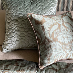 Vermicelli Quilted Cushion and Piped Cushion