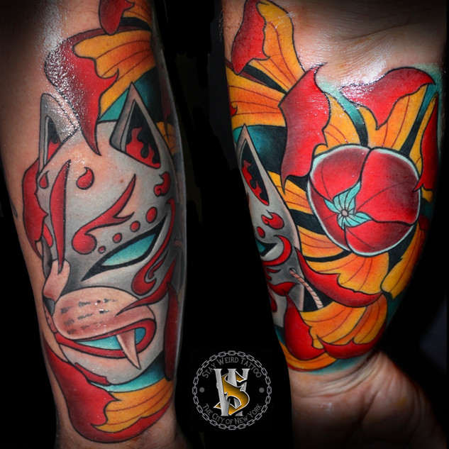 Neotraditional Kabuki Mask by Benny