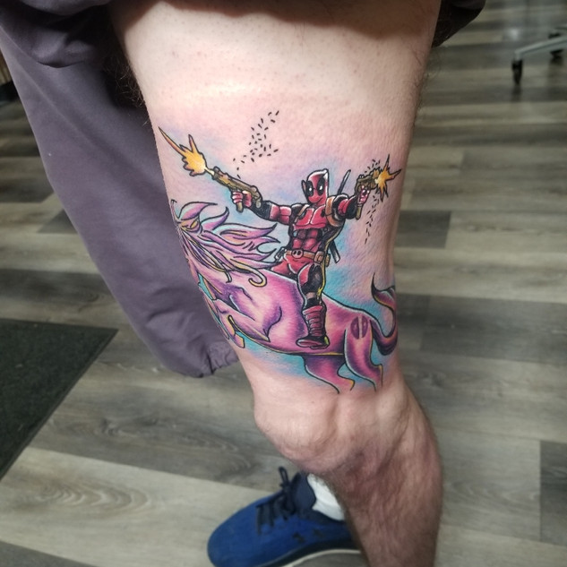 Deadpool on a Unicorn by Jeremy