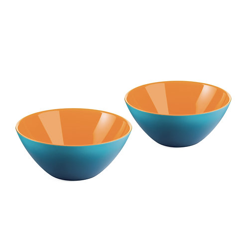 SET 2 Bowls 12cm - BLUE/WHITE/ORANGE