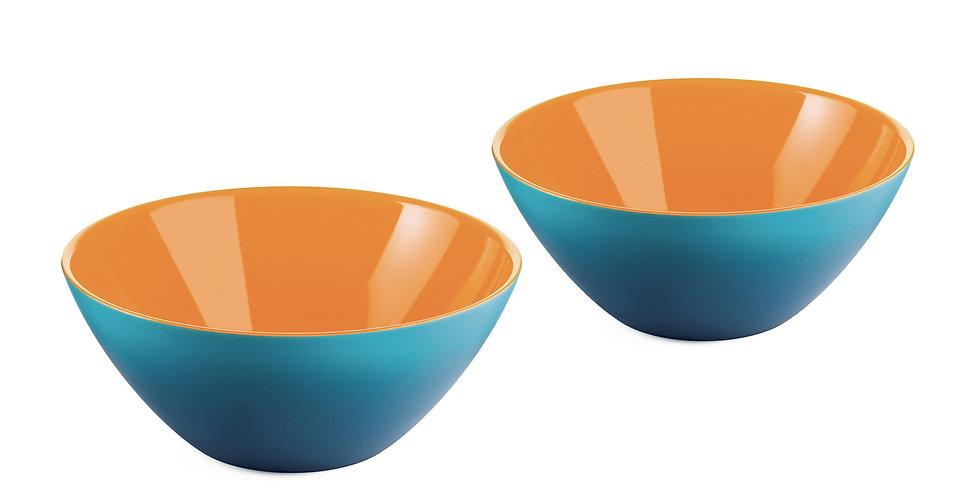 SET 2 Bowls 12cm - BLUE/WHITE/ORANGE
