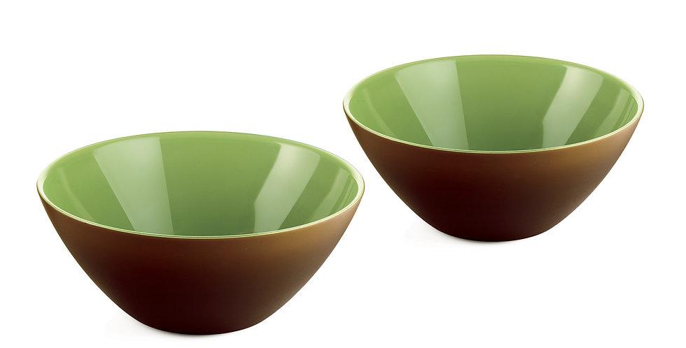 SET 2 Bowls 12cm -MOCHA/WHITE/KIWI