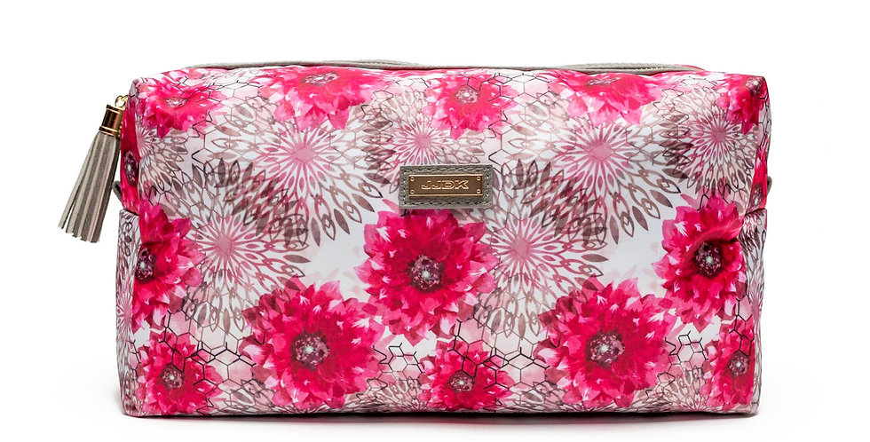 Viola (L) Cosmetic bag White/pink flower