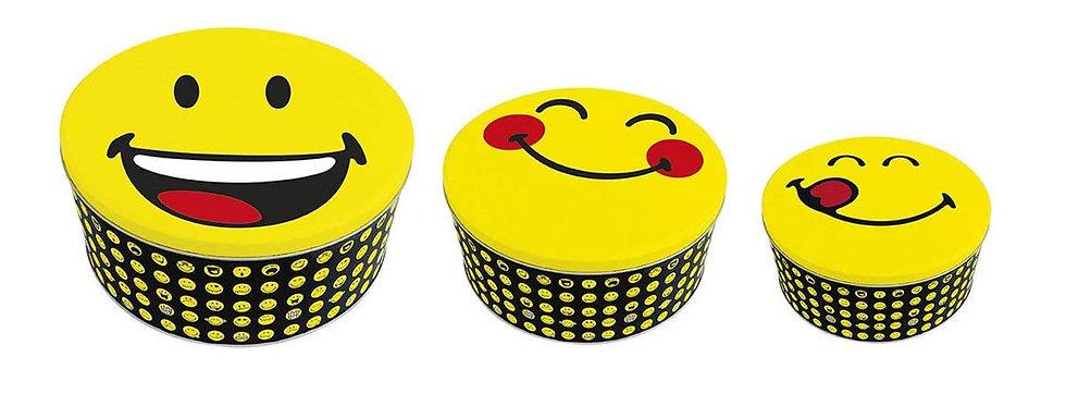 Round Tin Box 3-Pc Set- Emo Various