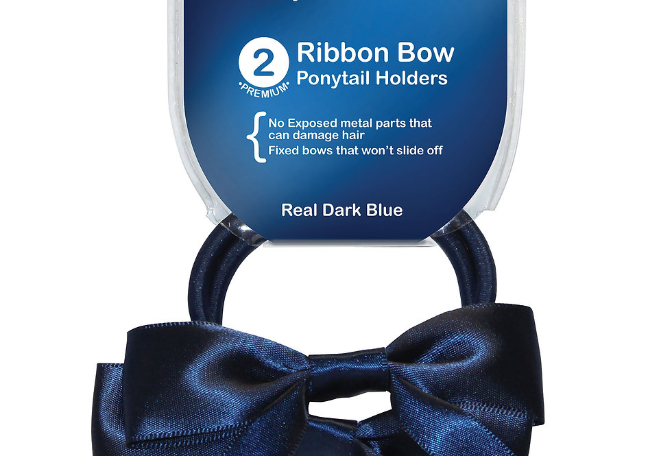 Ribbon Bow Ponytail Holder 2pc - Real Dark Blue