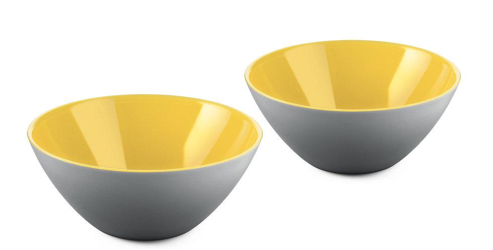 SET 2 Bowls 12cm - Grey/Yellow
