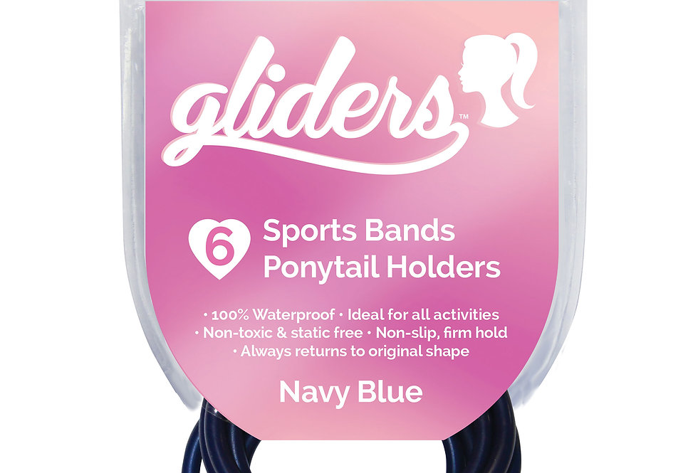 Non-Slip Sports Bands 6pc - Navy Blue