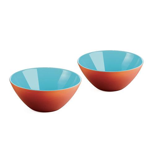 SET 2 Bowls 12cm - CORAL/WHITE/SEA