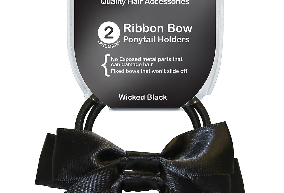 Ribbon Bow Ponytail Holder 2pc - Wicked Black