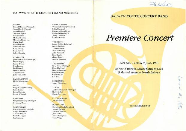 1981 BYCB Premiere Concert Programme Cov