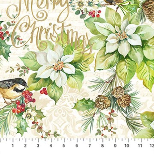 Deck The Halls  (large cream print) from Northcott