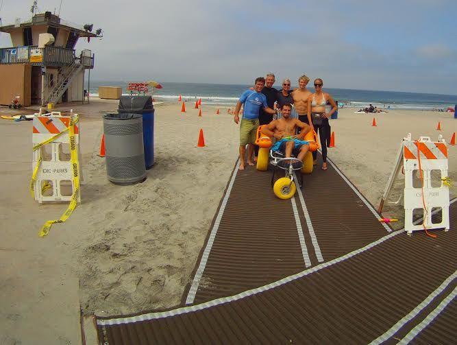 Encinitas lifeguards and Mobi Mat donated by Surfing Madonna