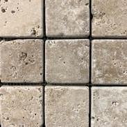turkish travertine mosaic/noce 2x2