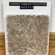 turkish tumbled travertine/noce 6x6