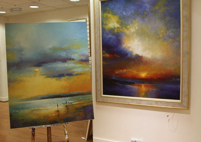 Examples of two paintings commissioned by a hospitality company for their public areas. Painted to the exact size required. For commissions such as this please contact the Maven Gallery. Depending on the size of painting required, a commission can take anywhere between two to six months.