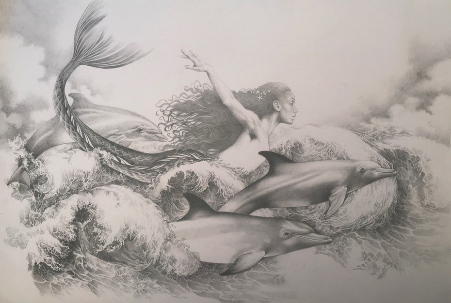 Sample pencil drawing for my version of the Little Mermaid