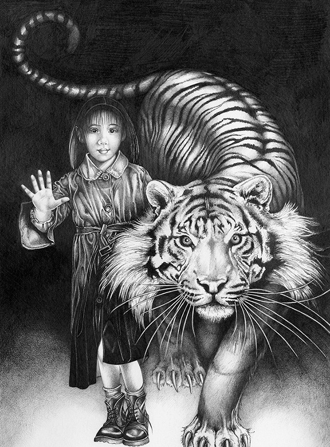 Fae girl with her friend the Tiger