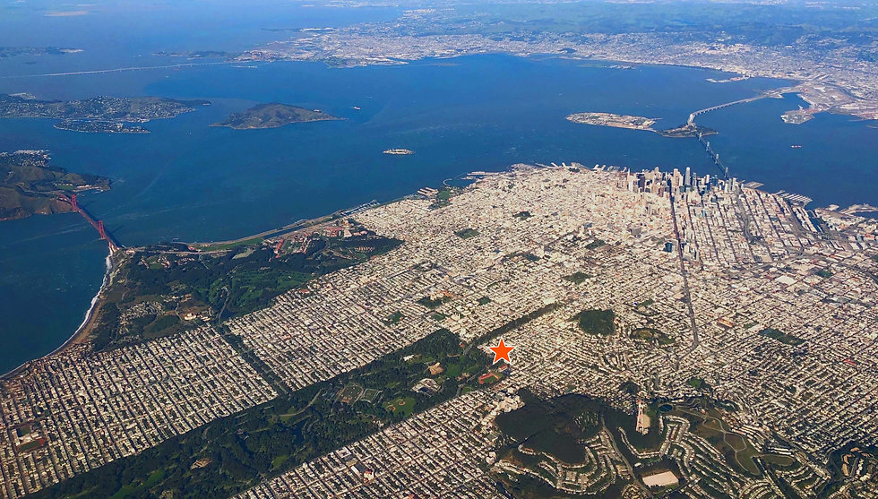 Aerial photograph of San Francisco with a star on the location of 730 Stanyan