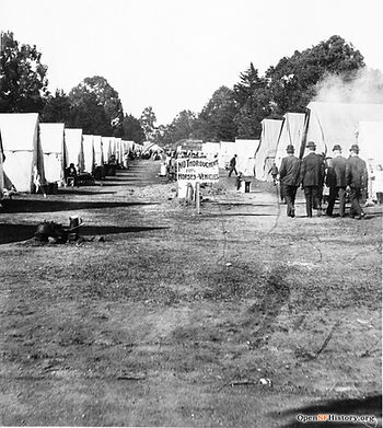 Lines of tents in a refugee camp in Golden Gate Park, 1906.