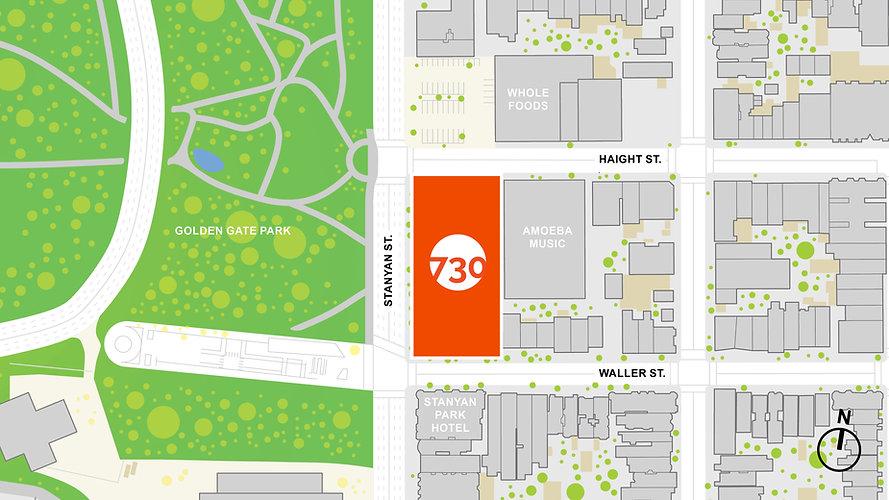 Map of 730 Stanyan and surrounding neighborhood.