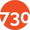 Orange circle overlaid with white numbers: logo of 730 Stanyan project